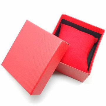 रेड ब्लू ब्लैक स्क्वायर कार्डबोर्ड पेपर आभूषण कलाई घड़ी बॉक्स