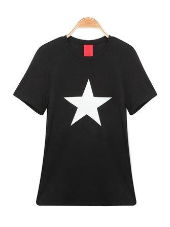 ठोस रंग ओ-गर्दन लघु आस्तीन स्टार प्रिंट टी-शर्ट