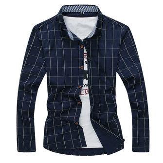 पुरुषों स्लिम फ़िट आरामदायक ग्रिड मुद्रित फैशन कपास लंबी आस्तीन शर्ट
