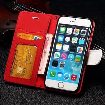 Caso di collisione sezione colore cuoio dell'unità di elaborazione elegante tessuto con slot per schede di iPhone 6 6S 4.7 pollici