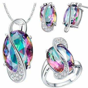 18K Platinum Plated Zircon Gemstone Oval Shape Jewelry Set