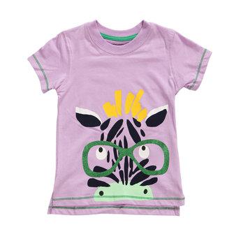 2015 नई लिटिल मावेन समर बेबी गर्ल चाइल्ड Zebra गुलाबी कपास लघु आस्तीन टी शर्ट टी
