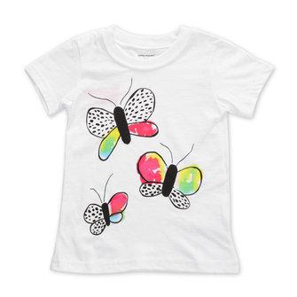 2015 नई छोटी मावेन बेबी गर्ल बटरफ्लाई व्हाइट कॉटन शॉर्ट स्लीव टी-शर्ट