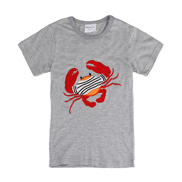 2015 Nya Lovely Crab Baby Children Boy Ren Cotton Kortärmad T-shirt Top