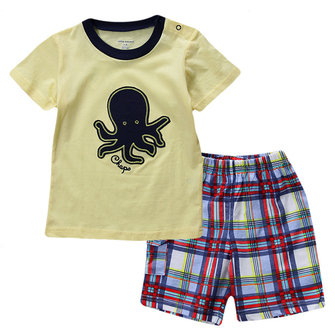 2015 New Lovely Octopus Yellow Baby Boy Boy Pure Cotton Short Sleeve + Shorts Suit