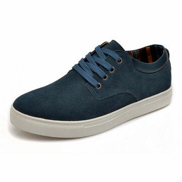 बड़े आकार के पुरुषों के फीता साबर आरामदायक फ्लैट कम शीर्ष स्नीकर्स जूते