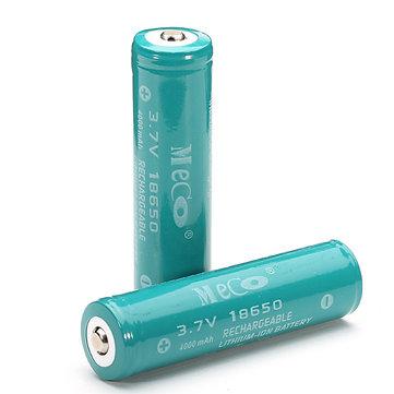 2PCS MECO 3.7v 4000mAh保護された再充電可能な18650リチウムイオン電池