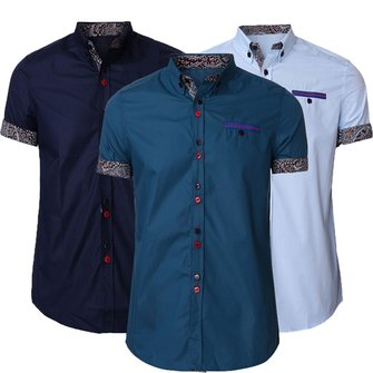 Men Summer Cotton Blend Turn-down Collar Colorful Button Short Sleeve Shirts