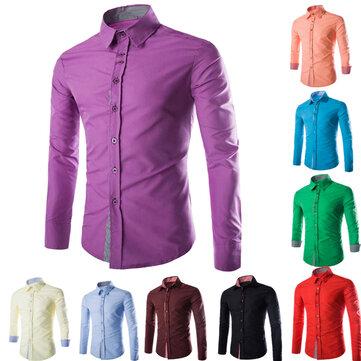 पुरुषों गिरने कपास मिश्रित कैंडी रंग प्लेड लंबी आस्तीन बटन शर्ट