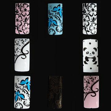 100pcs patrón de flor de la mitad de la panda extremidades falsas del arte del clavo de DIY